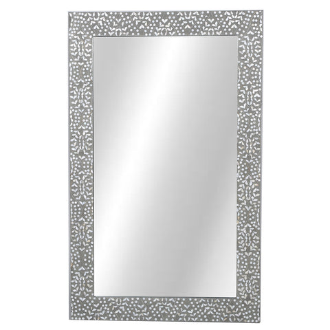 Nahla Mother of Pearl Inlay Mirror Classic Vine Grey