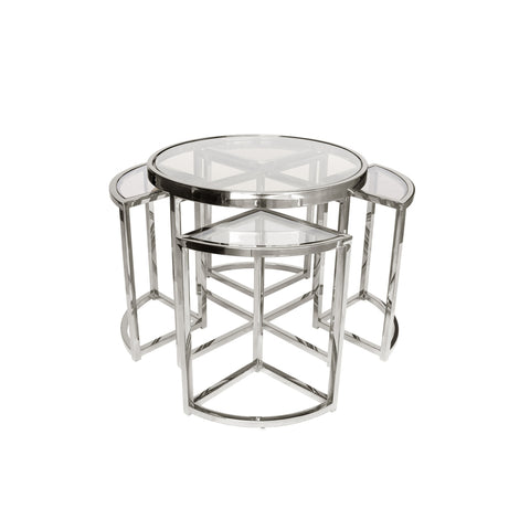 Sundance Nesting Side Tables 5 Piece Silver with Clear Glass