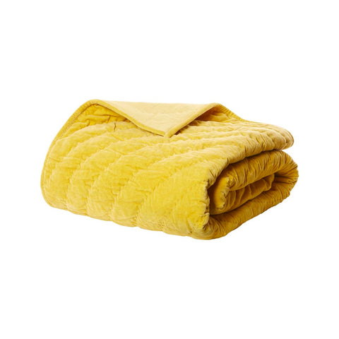 Nadia Velvet Throw Ochre Yellow