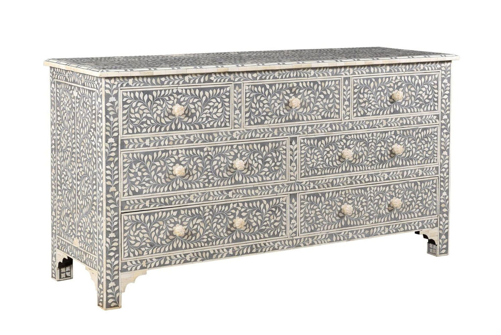 Manish Florentine Bone Inlay 7 Drawer Chest Grey