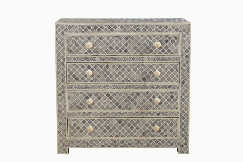 Arabesque Bone Inlay 4 Drawer Chest Grey