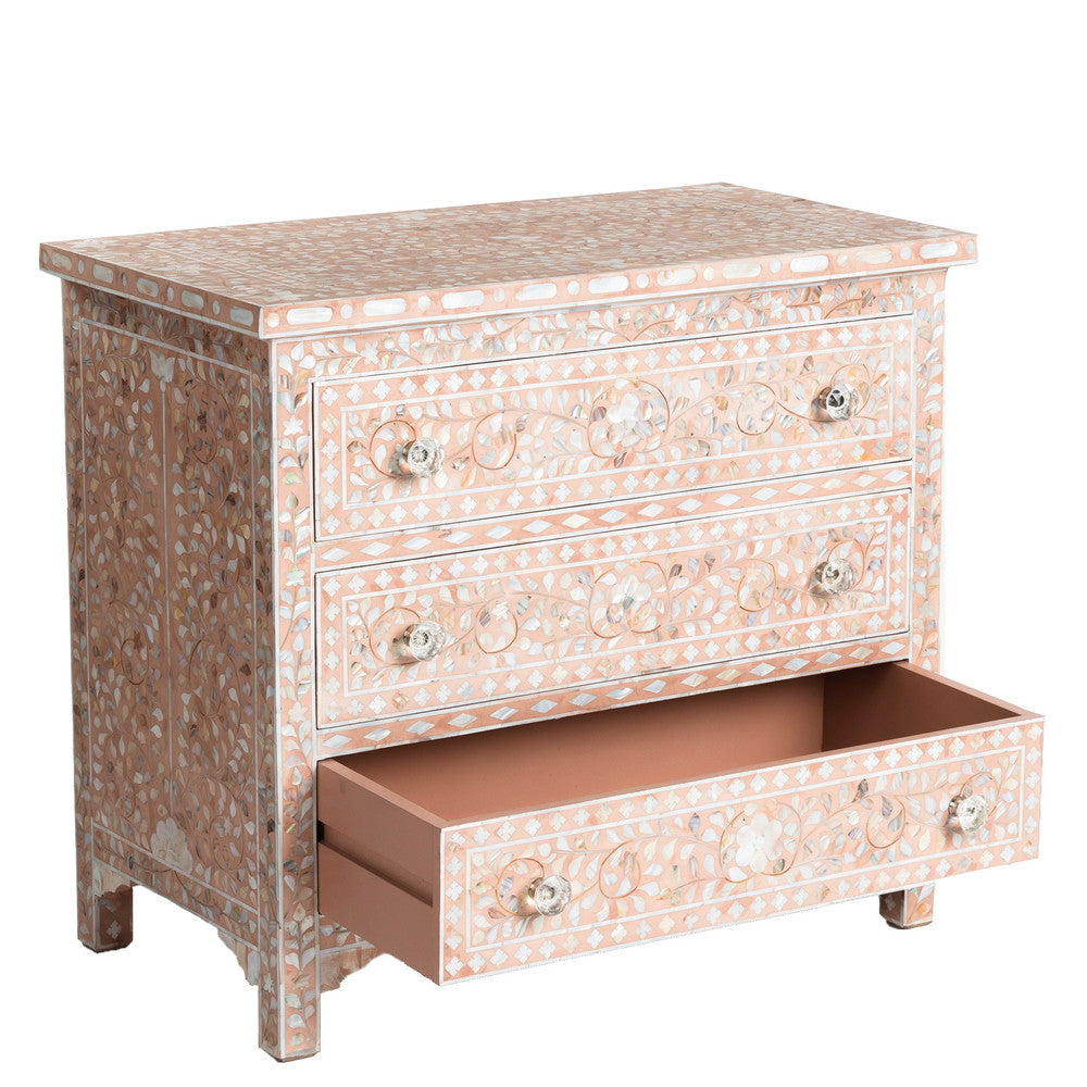 Camilla Mother of Pearl 3 Drawer Chest Floral Blush