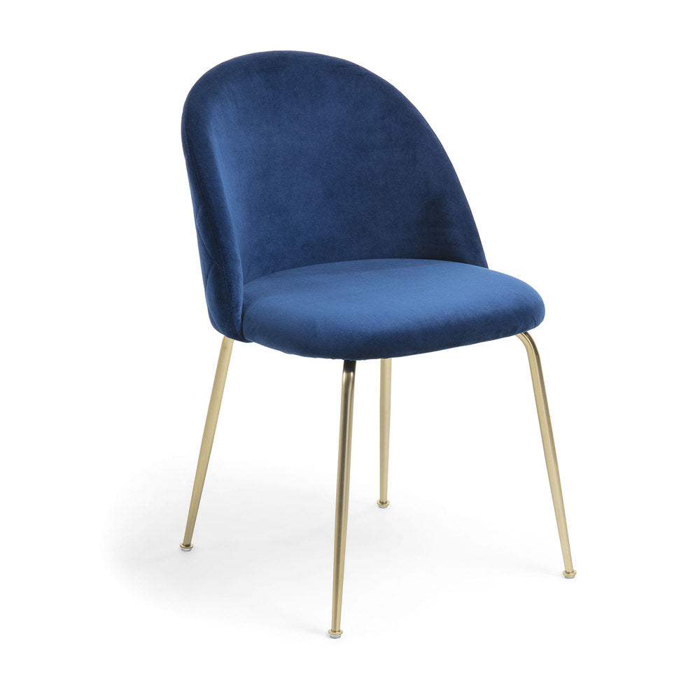 Gianni Dining Chair Gold Legs with Blue Velvet