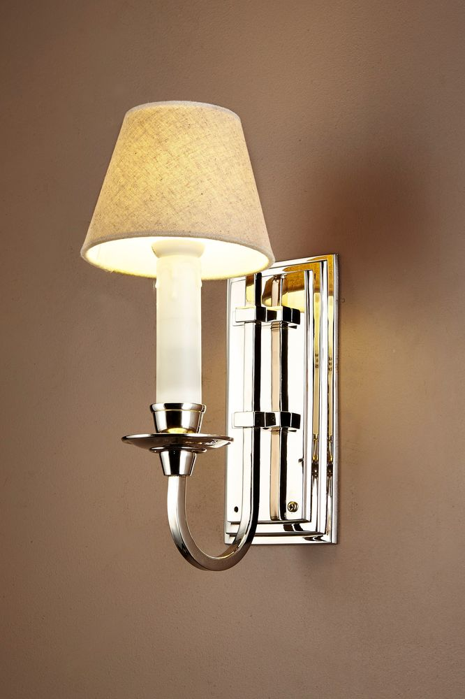 East Borne Wall Sconce Nickel Withe Shade