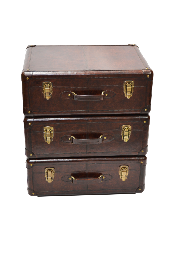 Francisco Set of Drawers Dark Leather