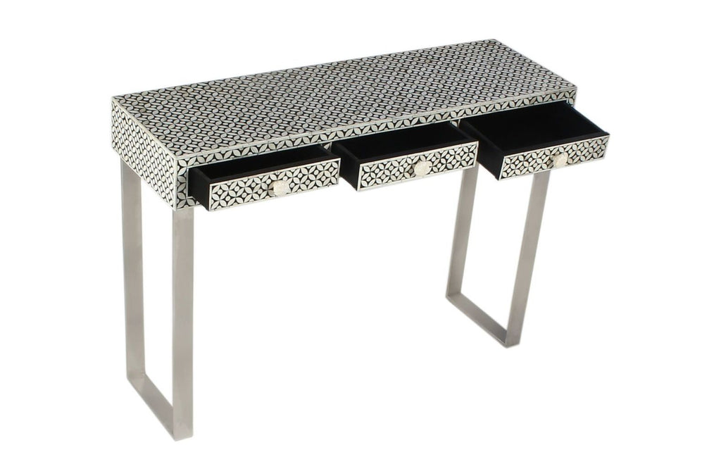 Aditi Geo Bone Inlay Console Black