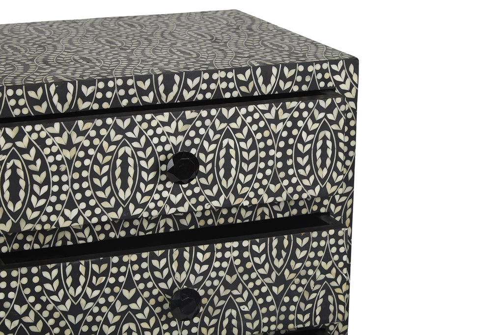 Perla Bone Inlay Long Two Drawer Chest Classic Vine Black and White