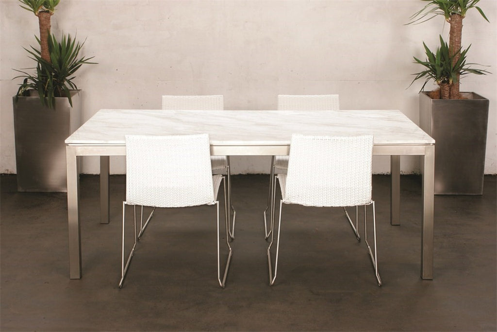 Lilia Dining Table White Marble Rectangular Or Round INTERIORS ONLINE - White marble rectangular dining table