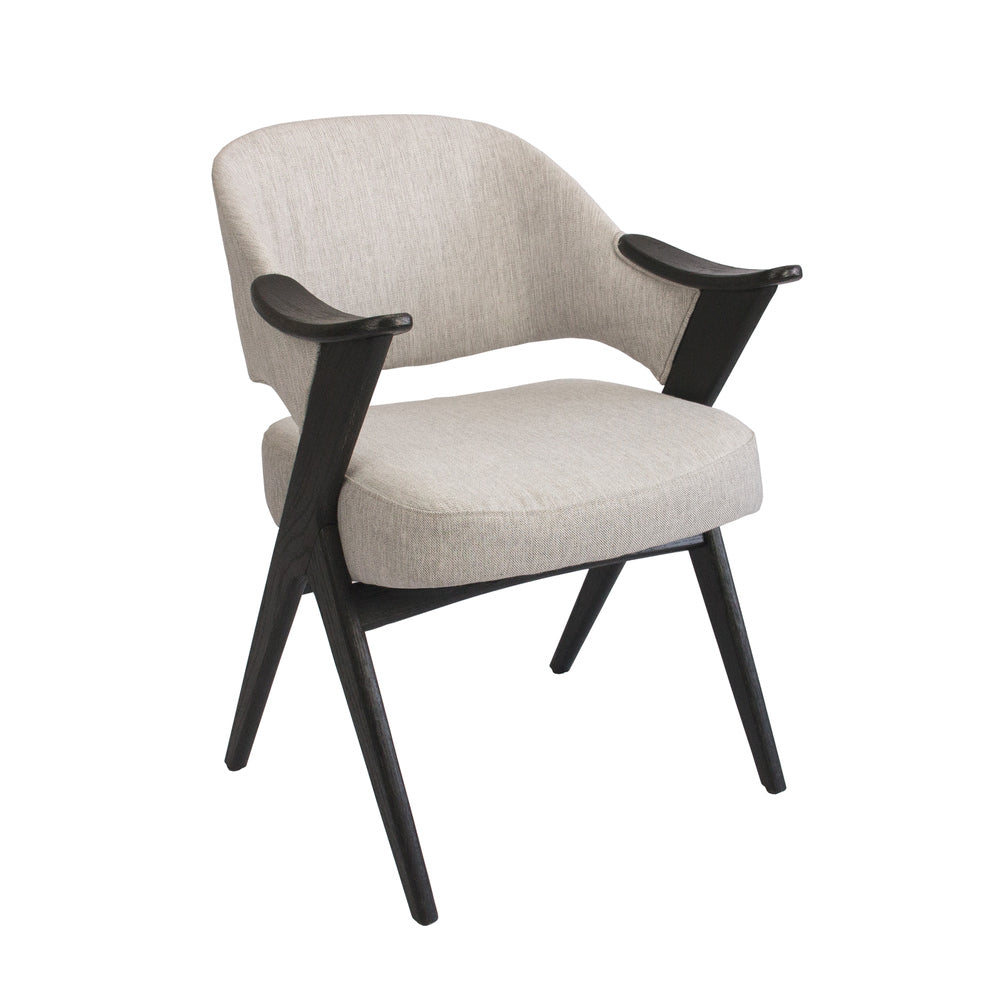 Vendela Arm Chair Twill Grey with Black Frame