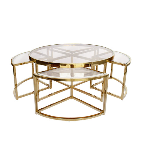 Sundance Nesting Coffee Table 5 Piece Gold with Clear Glass