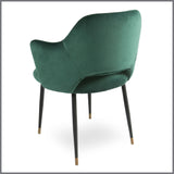 Germain Carver Dining Chair Emerald Green Velvet