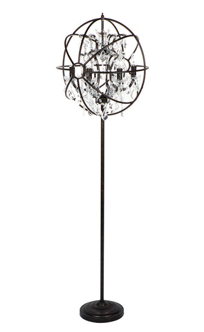 Wire Barrel Floor Lamp Antique Zinc and Silver