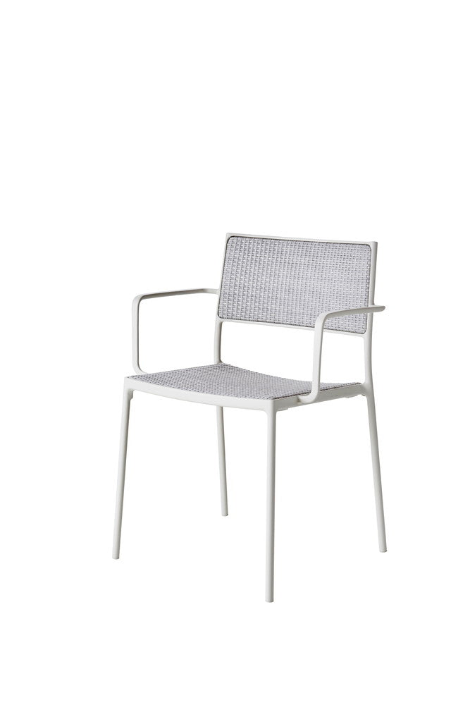 Less Stackable Dining Chair White with White Weave