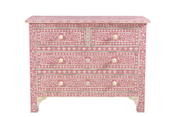 Agila Florentine Bone Inlay 4 Drawer Chest Pink