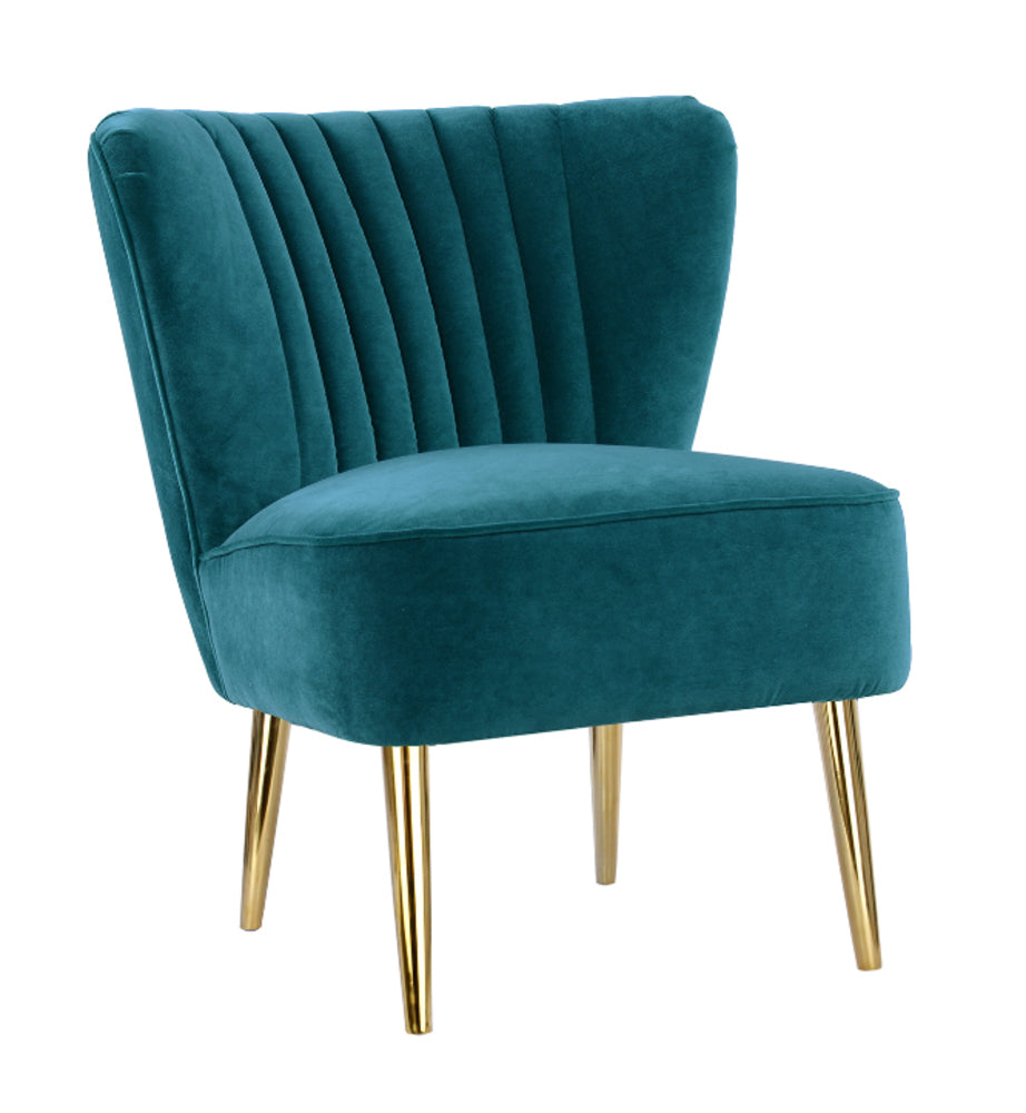 Slipper Chair Peacock with Gold Metal Legs Limited Edition