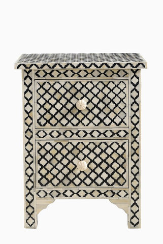 Arabesque Bone Inlay 2 Drawer Bedside Black