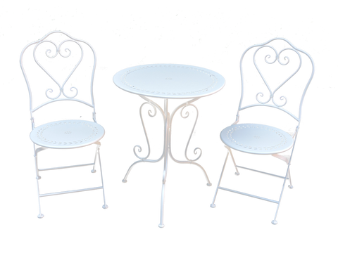 Filigree Round 3 Piece Setting Antique White