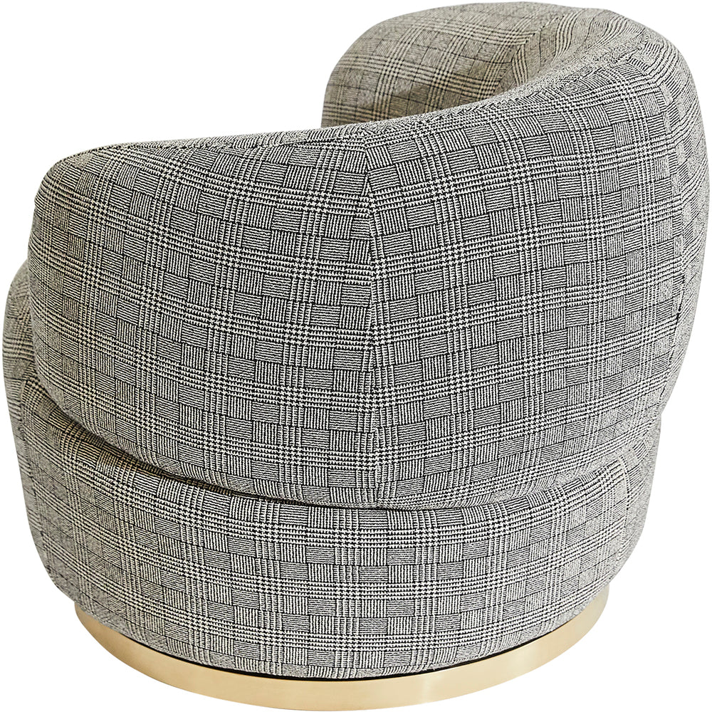 Bobby Swivel Chair Black Plaid