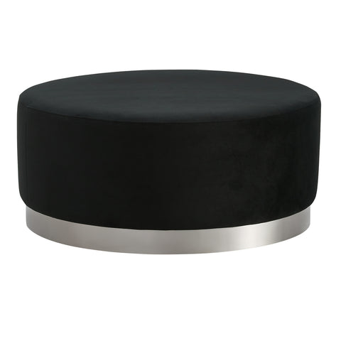 Padthaway Ottoman Black with Silver Base Large