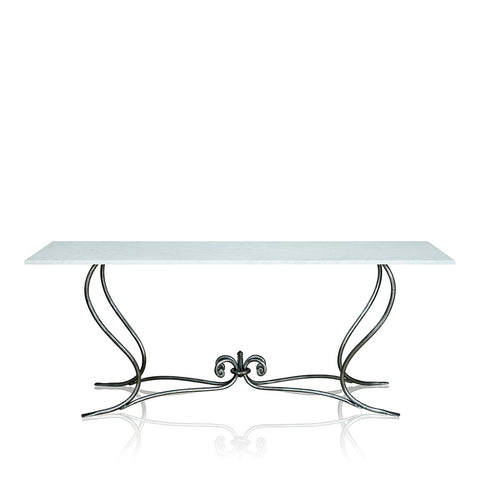 Napoli Wrought Iron Console With Marble Top Large Base