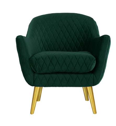 Slipper Chair Ivy Green with Gold Legs