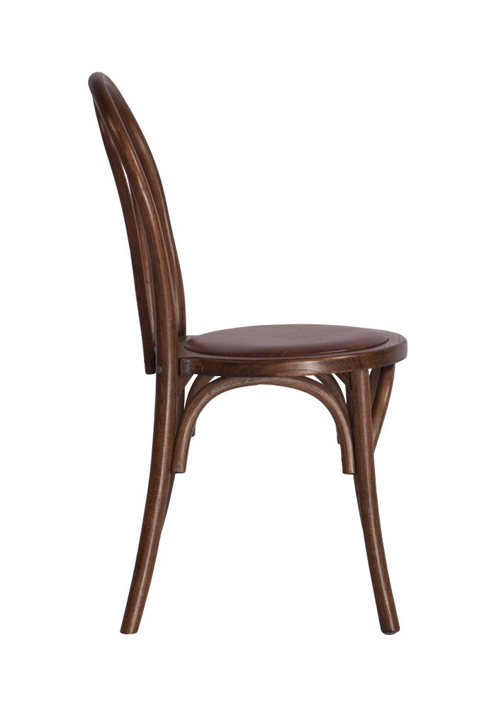 Brent Stackable Chair with Leather Seat