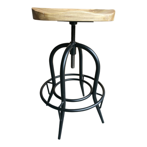 Moulded Elm and Iron Barstool