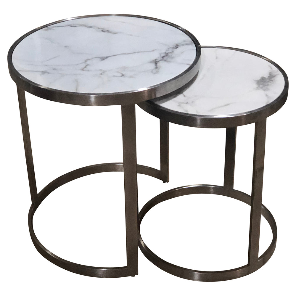 Crafers Side Table Set/2 White Marblelite