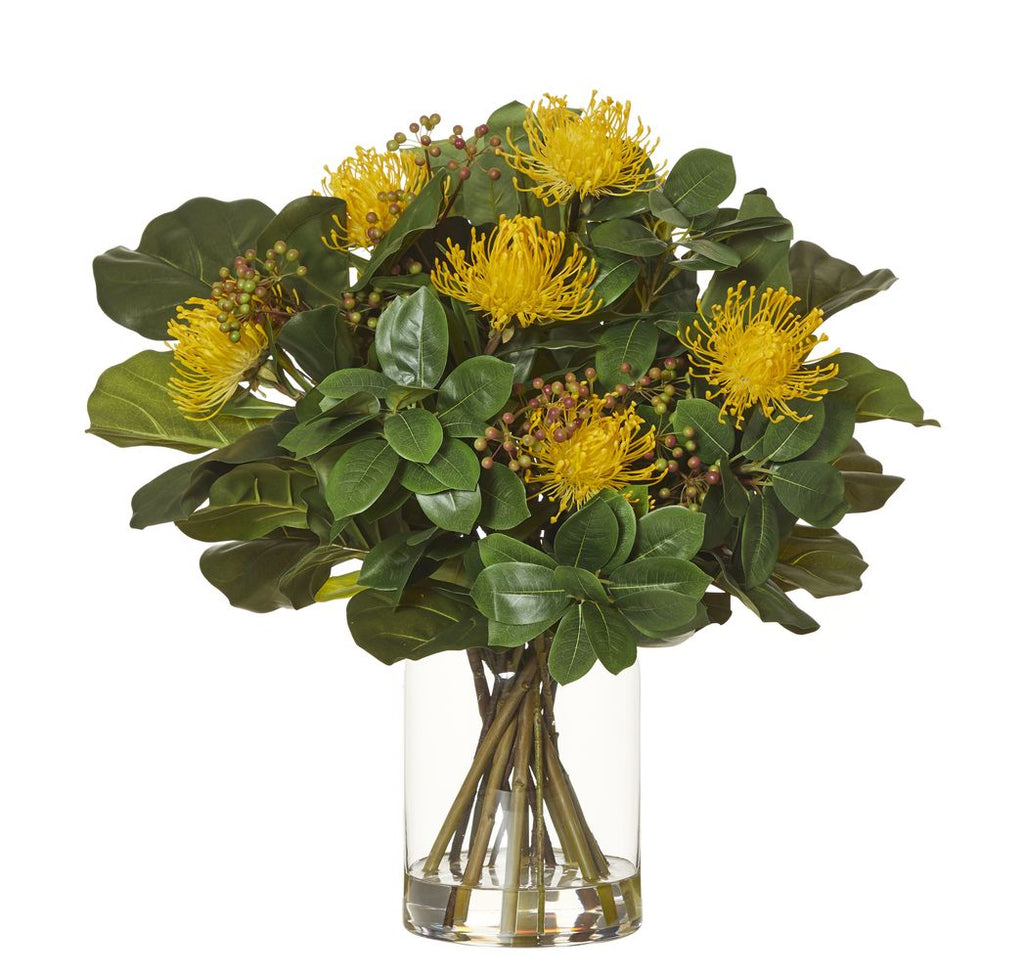 Pin Cushion Fiddel Leaf Mix in Pail Vase Yellow