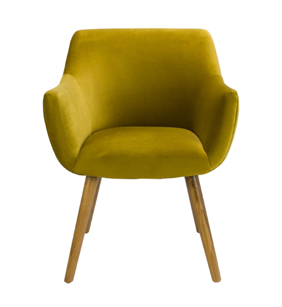 Coco Plain Velvet Dining Chair Chartreuse