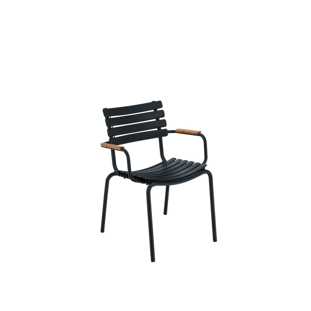 Clips Dining Chair Black with Bamboo Armrests