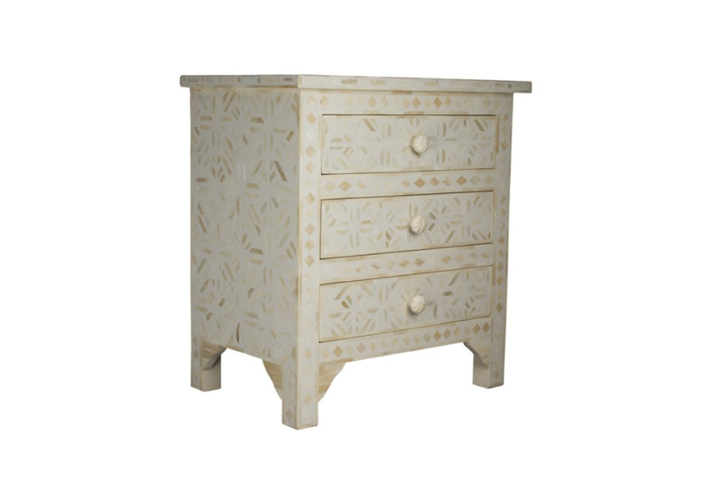 Bone Inlay White 3 Drawer Bedside