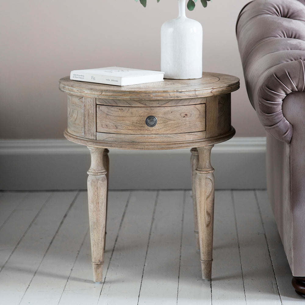 Surrey Round 1 Drawer Side Table