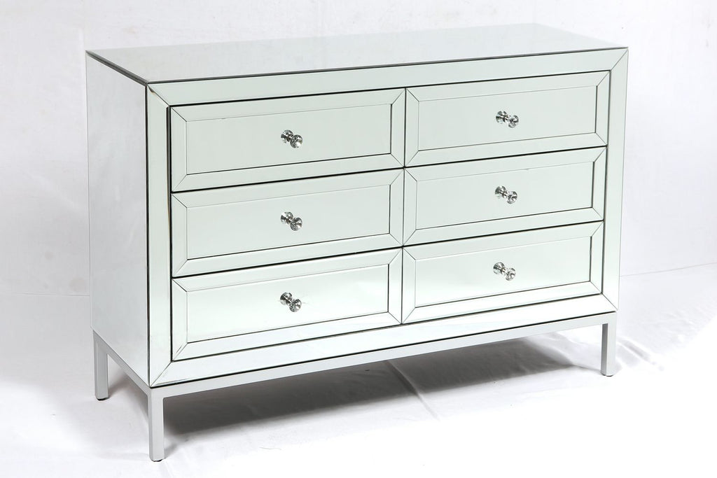 Dorset 6 Drawer Mirrored Chest