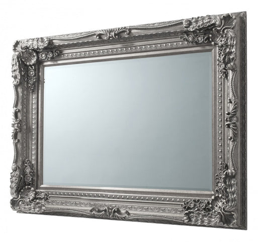 Carved French Wall Mirror Antique Silver