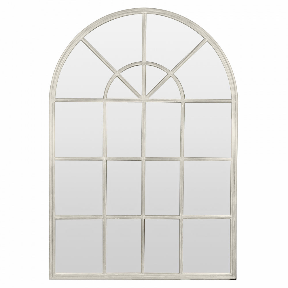 Cream Iron Arch Mirror With Panes