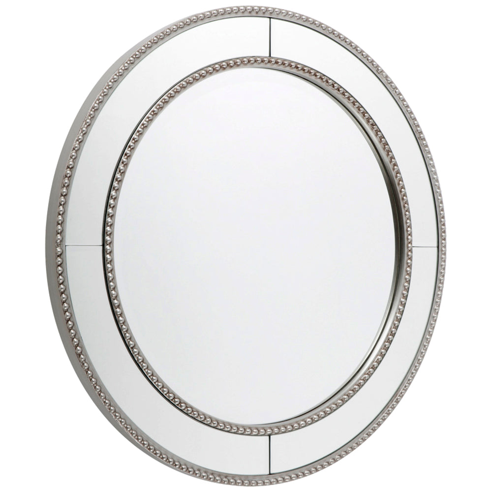 Zeta Round Wall Mirror Antique Silver