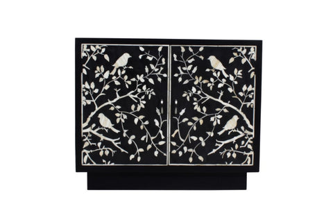 Black and White Bone Inlay Shard Cabinet