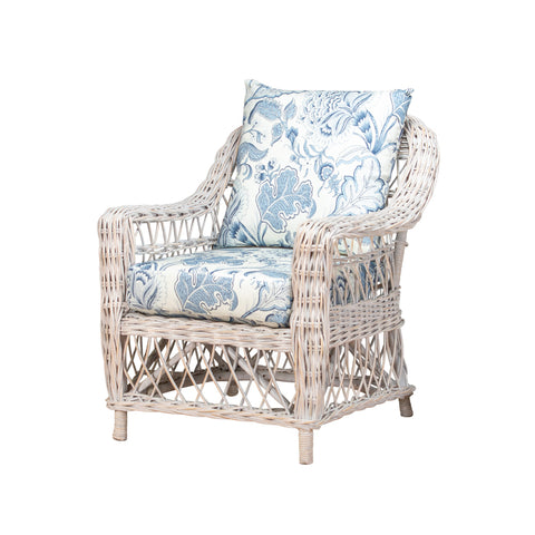 Cedros Daybed Distressed White with Navy/Floral Cushions