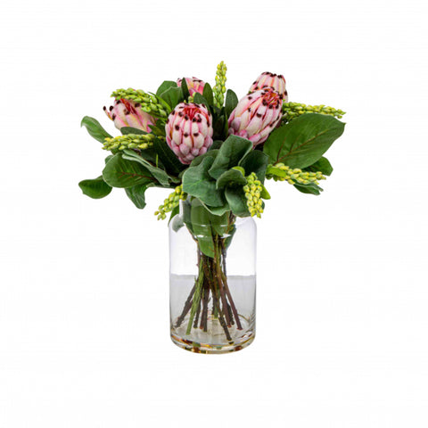 Pink Protea in Toby Vase Small