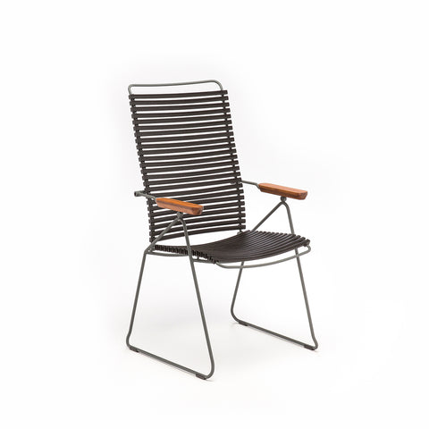 Click Armrest Outdoor Dining Chair Dark Grey