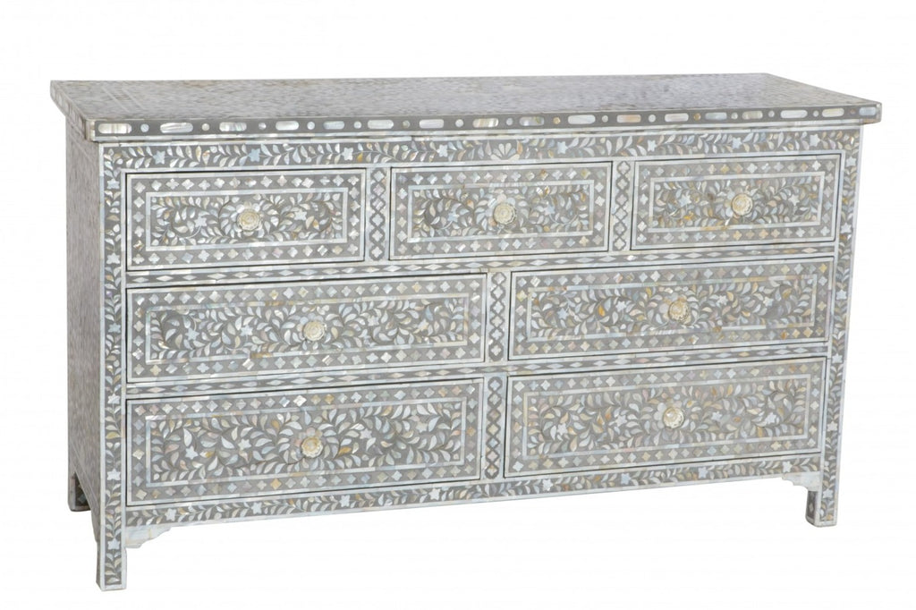Jamelia Mother of Pearl Inlay 7 Drawer Chest Floral Grey