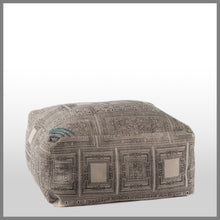 Black Print Ottoman With Aqua Accent