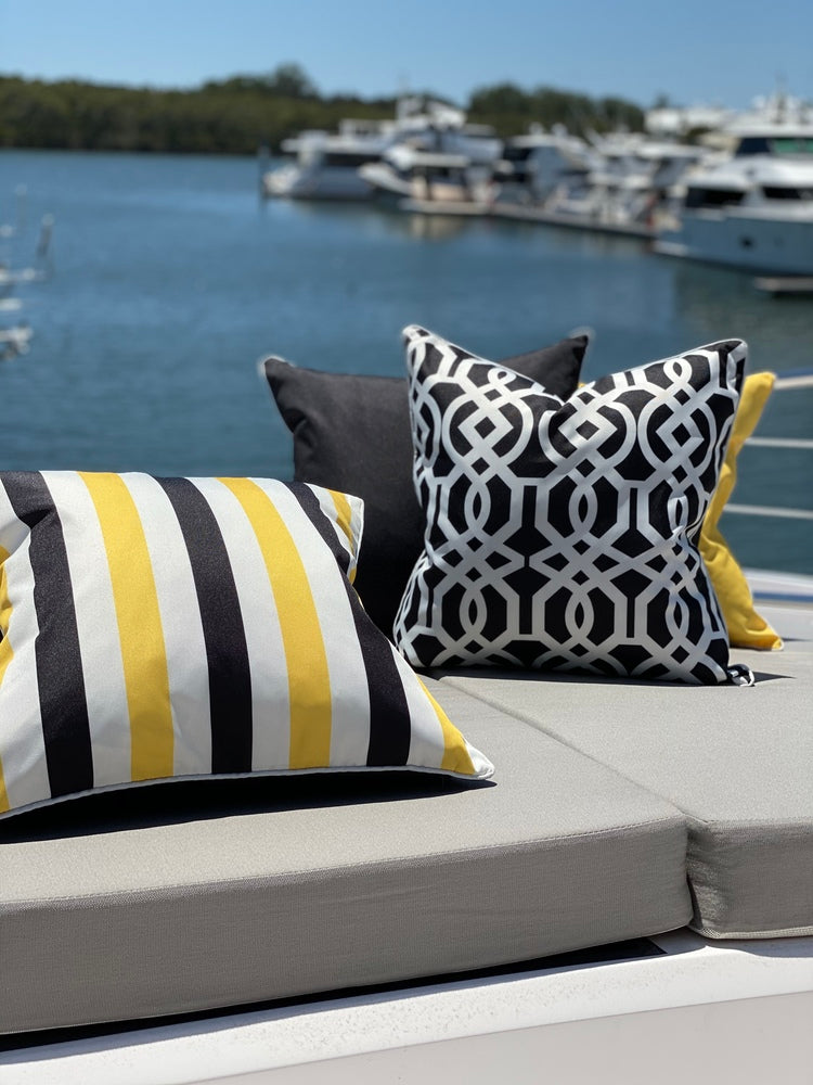 Biarritz Indoor/Outdoor Cushion Black and Yellow