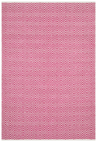 Villa Modern Diamond Rug Pink and White