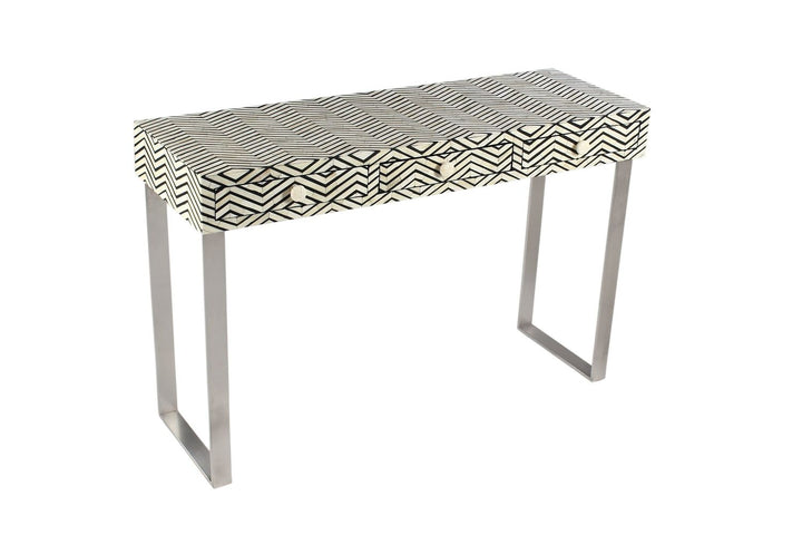 Harita Chevron Bone Inlay Console with Drawers Black