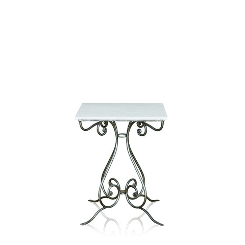 Cafe Wrought Iron Occasional Table With Marble Top