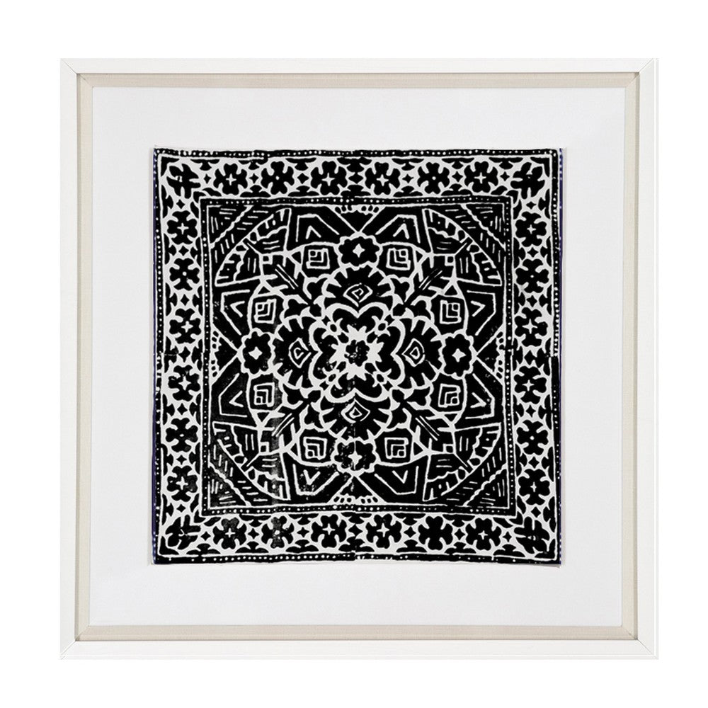 Kilim Print Black Fabric Artwork
