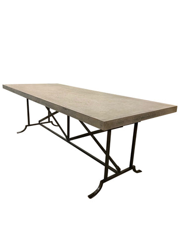 Napoli Wrought Iron Outdoor Dining Table with GRC Top