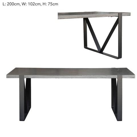 Trent Rectangular Cement Dining Table